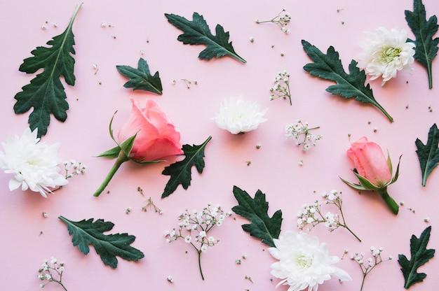 Vielzahl von rosen, weißen blüten und blätter über eine hellrosa oberfläche