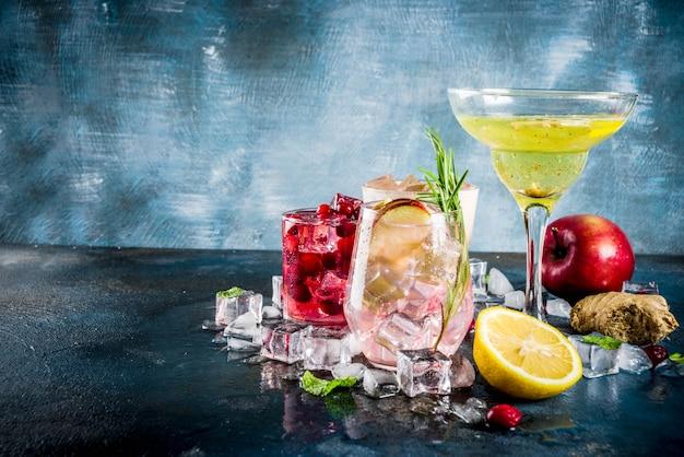 Vielzahlfallwinter kalte gefrorene cocktails
