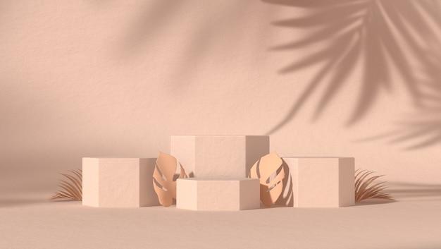 Vier abstrakte podium für kosmetische produktplatzierung im natürlichen hintergrund
