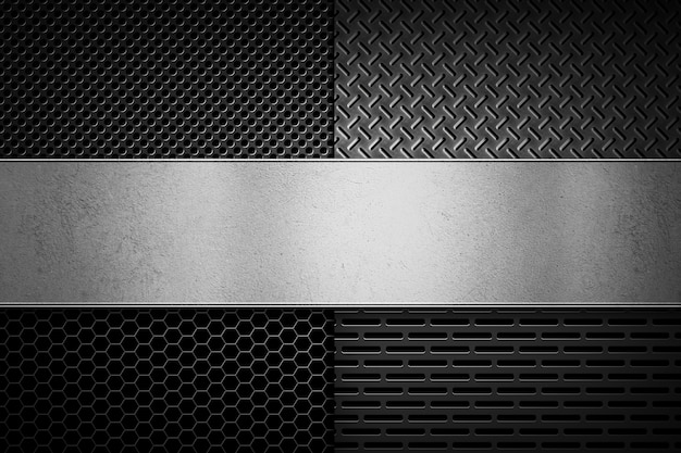 Vier arten abstrakte moderne graue perforierte metallbeschaffenheiten mit poliermetall