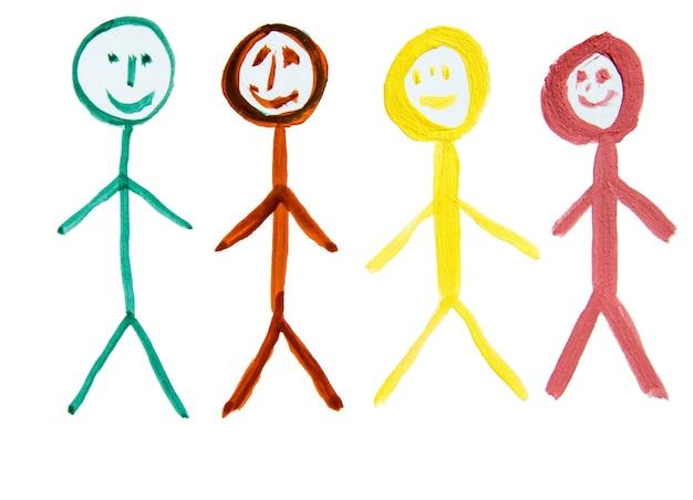 Vier bunte menschen, als symbol für die vielfalt der nationalitäten, eine von hand gezeichnete aquarellzeichnung.