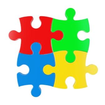 Vier bunte puzzleteile auf rotem grund. 3d-rendering