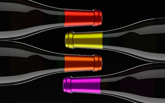 Vier flaschen wein im schwarzen hintergrund.