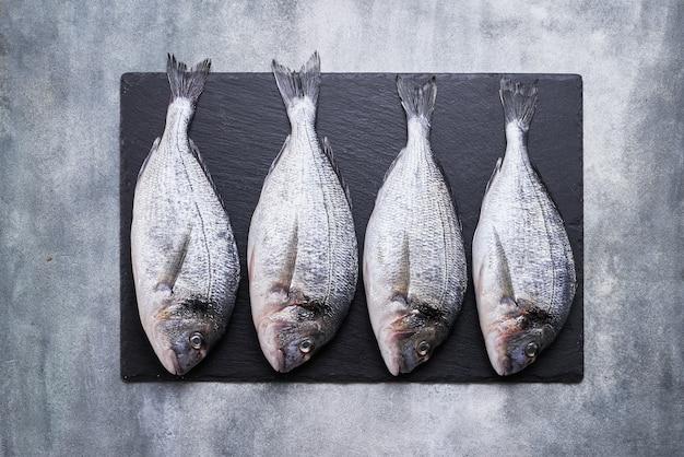 Vier frische königliche doraden auf grauem betonhintergrund. gesundes lebensmittelkonzept. draufsicht, kopierraum. mediterranes meeresfrüchte-konzept