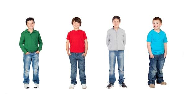 Vier kinder, kleines team