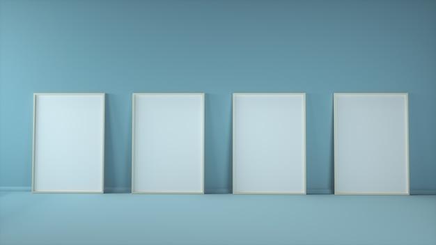 Vier leere vertikale plakatrahmen verspotten das stehen auf blauem hintergrund.