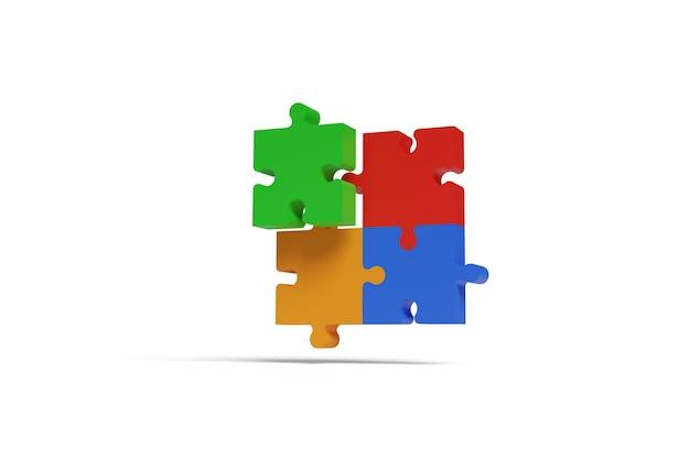 Vier puzzleteile, rot, blau, grün und orange, kommen in drei dimensionen zusammen. teamwork-konzept.