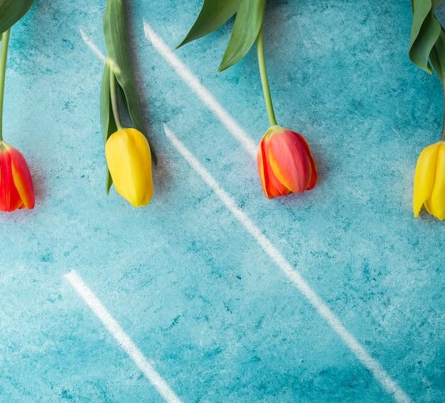 Vier tulpenblumen auf tabelle