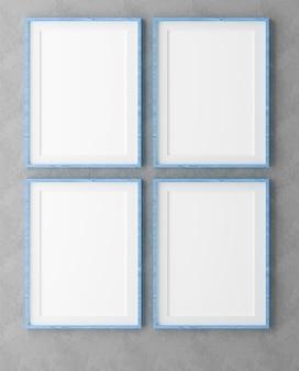 Vier vertikale holzrahmen auf grauer wand