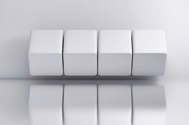 Vier weiße große würfel über weißem spiegeloberflächenhintergrund