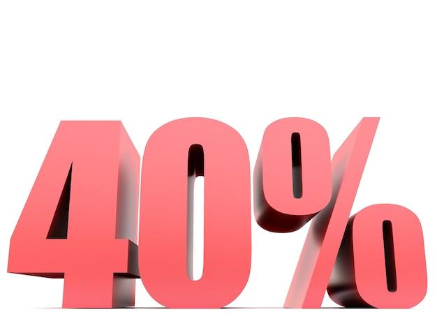 Vierzig prozent 40% symbol .3d-rendering