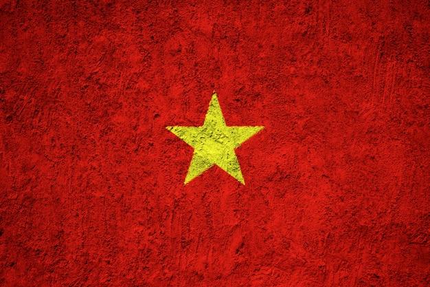 Vietnam flagge auf grunge wand gemalt