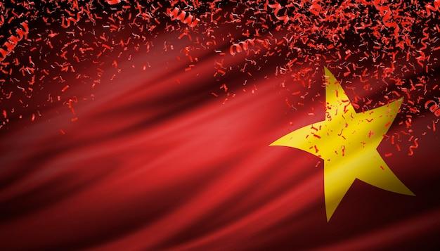 Vietnam-flagge mit konfetti, die für unabhängigkeitstag fallen. 3d-rendering