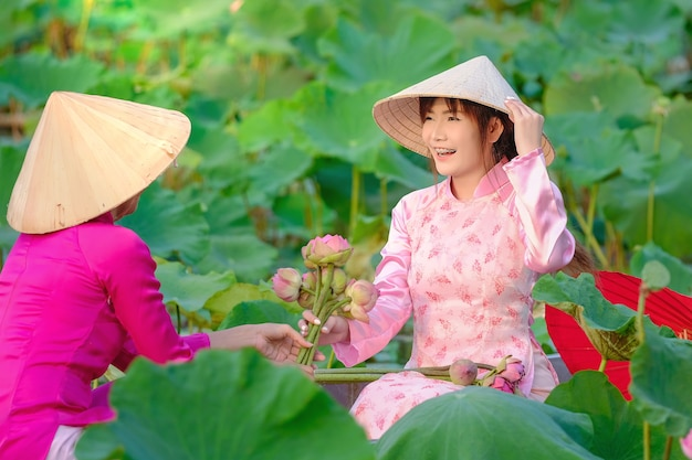 Vietnamesische frauen sammeln den lotus bei sonnenuntergang.