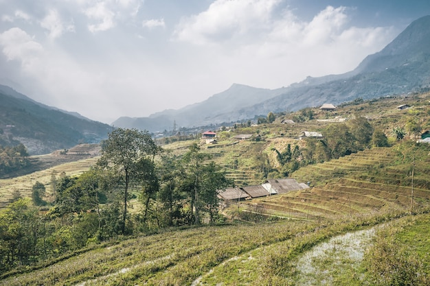 Vietnamesische landschaft in sa pa