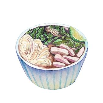 Vietnamesische suppe pho des aquarells lokalisiert auf weißem hintergrund.