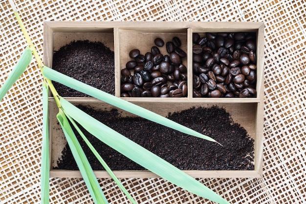 Vietnamesischer robustakaffee in der holzkiste