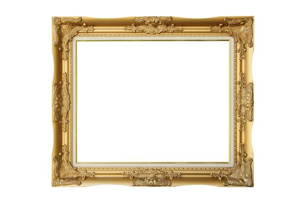 Viktorianischer alter rahmen. klassischer gold-bilderrahmen auf weißem hintergrund isoliert.