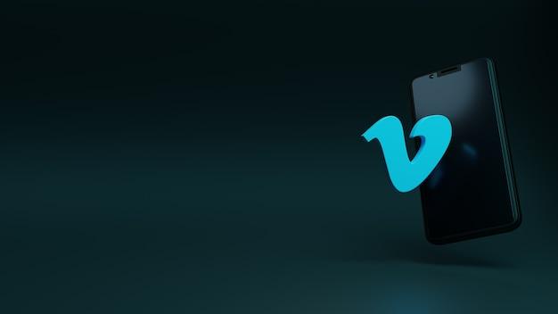 Vimeo-logo-anwendung mit smartphone-display-3d-rendering-vorlage