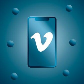 Vimeo logo auf telefonbildschirm 3d rendern
