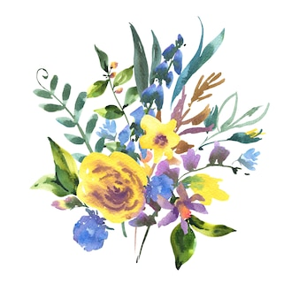 Vintage aquarell-blumengruß-karte mit wildblumen