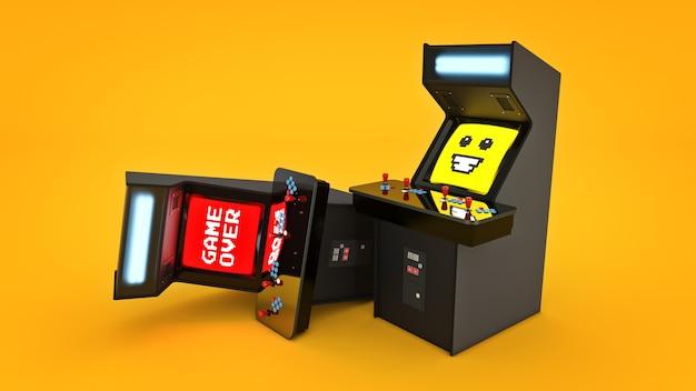 Vintage-arcade-spielautomat-konzeptspiel über 3d-rendering