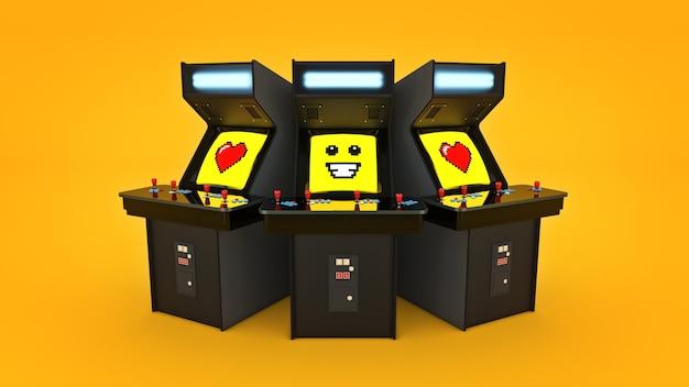 Vintage-arcade-spielautomatenkonzept liebe 3d-rendering