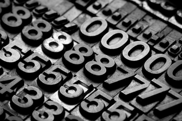 Vintage buchdruck alphabet und nummer