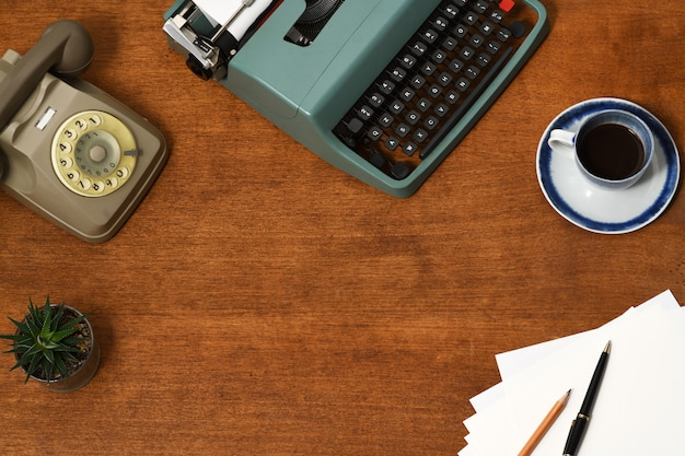 Vintage büro zubehör hintergrund