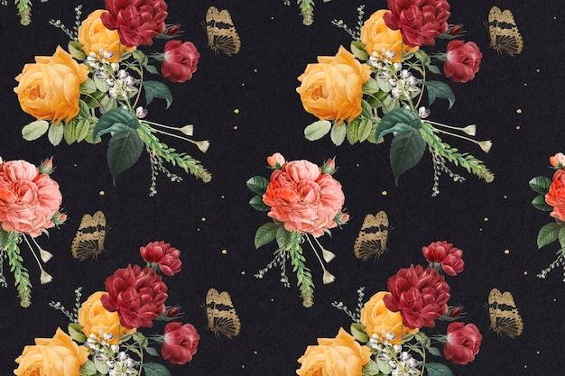 Vintage bunte rosen muster hintergrund