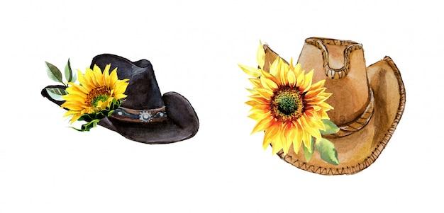 Vintage-cowboyhut des aquarells mit sonnenblumen