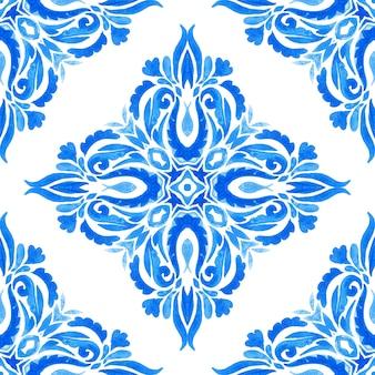 Vintage damast nahtlose ornamentalen aquarell handgezeichnete arabeske farbe fliesen designmuster für stoff. azulejo keramik wiederholendes fliesendesign geometrisch mit floralen elementen