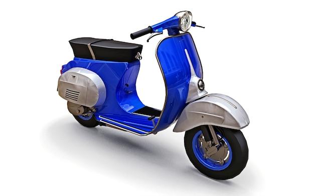 Vintage europäischen blauen roller auf weißem hintergrund. 3d-rendering.