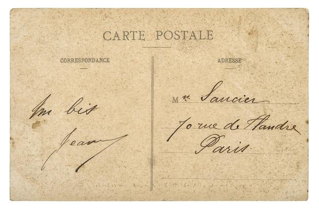Vintage französische postkarte von paris. papierhintergrund im retro-stil