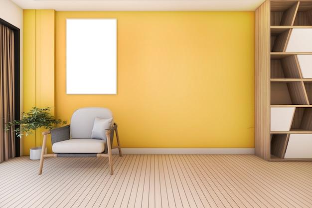 Vintage gelbes wohnzimmer mit sessel und schönes design