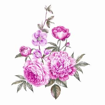 Vintage girlande aus blühenden rosen.