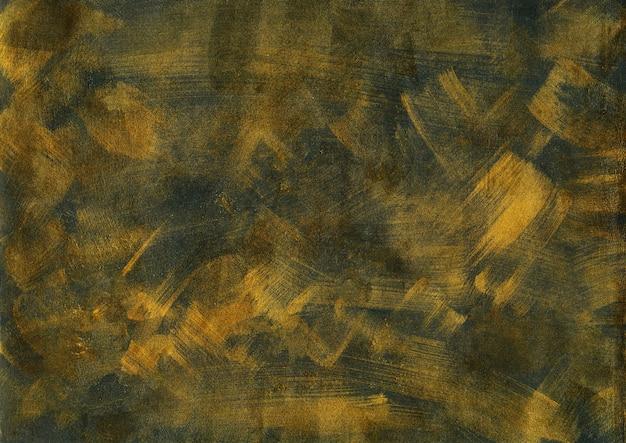 Vintage gold und schwarze textur. abstrakter bespritzter hintergrund. moderne kunst mit bronzenen acrylpinselstrichen auf dunkler papierleinwand