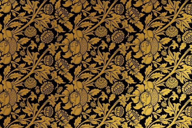 Vintage goldener blumenhintergrund-remix aus artwork von william morris