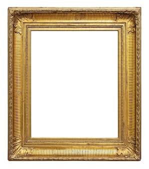 Vintage goldfarbener bilderrahmen isoliert auf weißer oberfläche