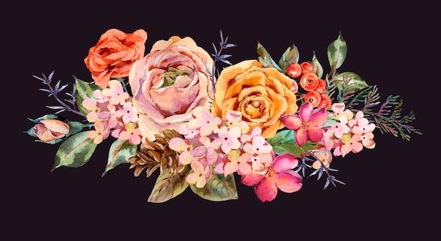 Vintage grußkarte des aquarells mit rose, hortensie, pinecones, roten beeren und wildflowers.