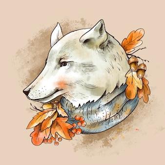 Vintage herbstillustration. netter weißer wolf mit herbstlaub und eichelbrunch. waldtier
