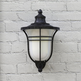 Vintage iron lantern light auf brick stone wall extreme nahaufnahme. 3d-rendering