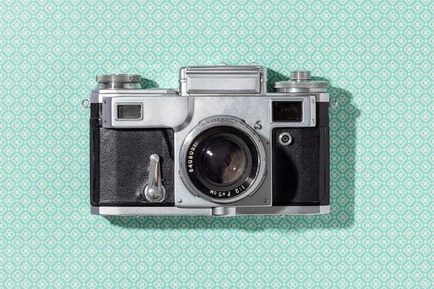 Vintage-kamera-komposition der draufsicht