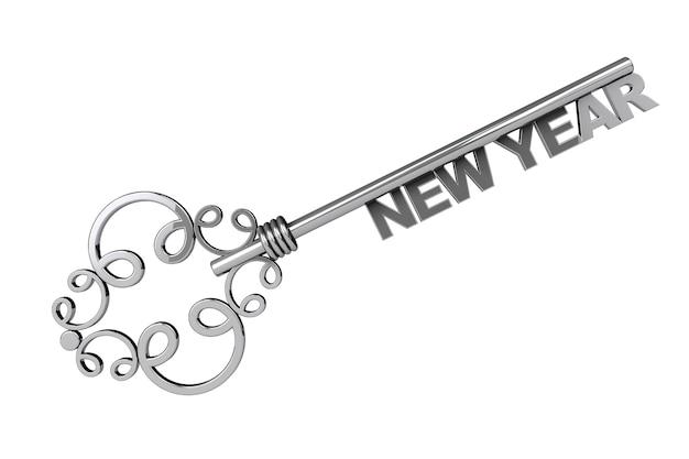 Vintage key mit neujahrszeichen auf weißem hintergrund