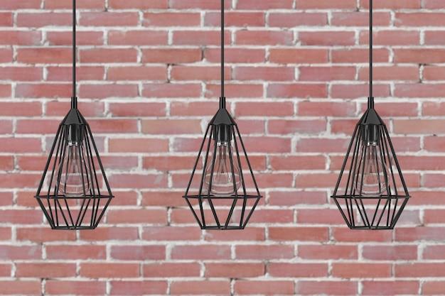 Vintage lighting decor deckenleuchten vor backsteinmauer. 3d-rendering