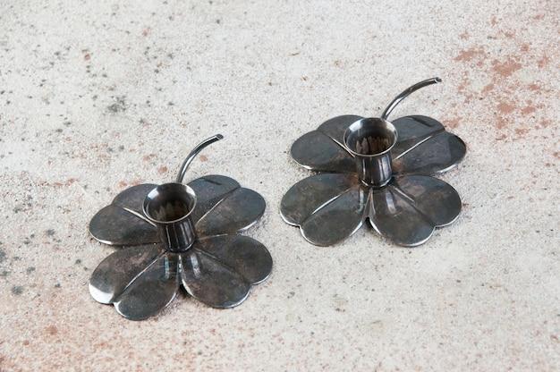Vintage metall kerzenhalter in form von klee