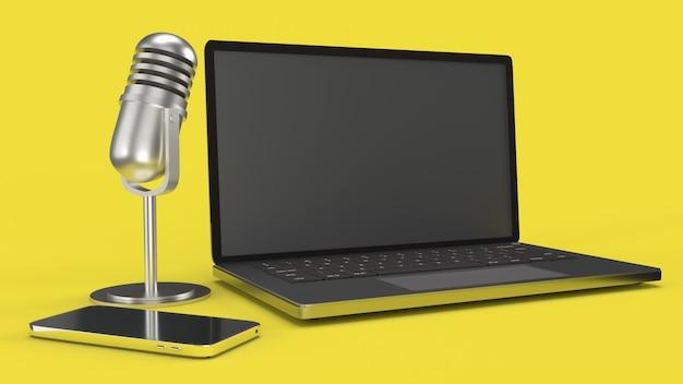 Vintage mic notebook und smartphone 3d-rendering für podcast-inhalte.