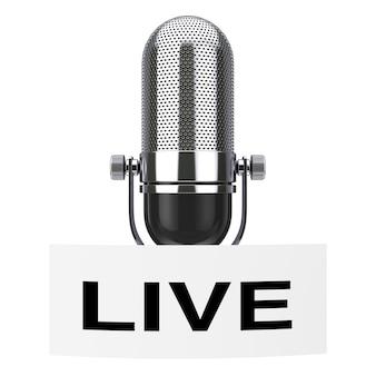 Vintage mikrofon mit live-tag-label auf weißem hintergrund 3d-rendering