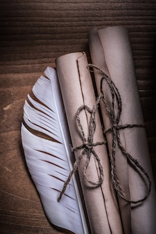 Vintage papier und federn aufgerollt