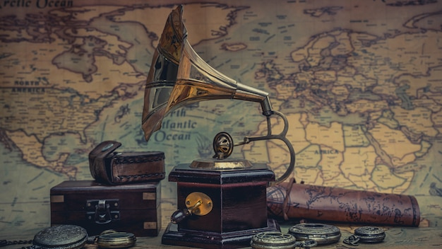 Vintage phonograph grammophon